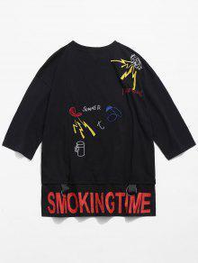 Camiseta Bordado M Lateral Y Ojales Con Negro 0Cnw0qUr