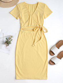 فستان ميدي لف ذو فتحات - صن اصفر L