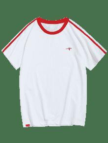 Xl Rojo Raglan Manga Contraste Camiseta Trim wUPnq7