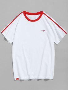 Camiseta Manga Trim Contraste Rojo Xl Raglan 7rwqB157