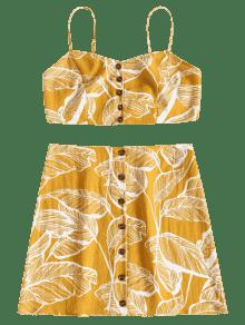 Hojas S Botones De Juego Y Brillante De Amarillo Estampado Cami Con BwSvx