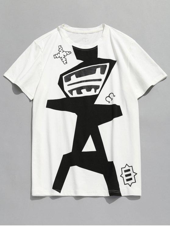 Camiseta con cuello redondo y patrón abstracto - Blanco 2XL