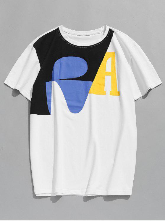 Camiseta con manga corta estampada - Blanco L