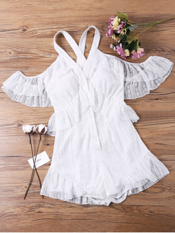 outfit Cold Shoulder Lace Overlay Romper - WHITE S