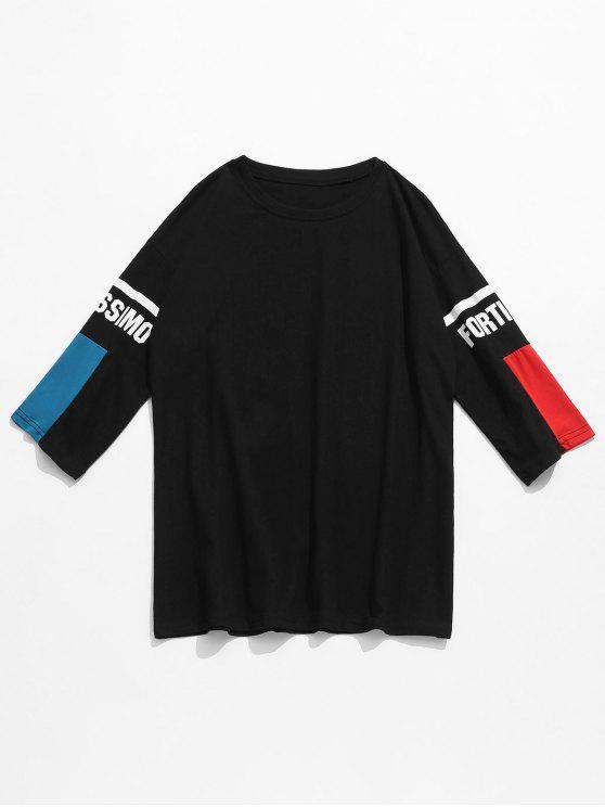 new Half Sleeve Contrast Patterned Tee - BLACK M