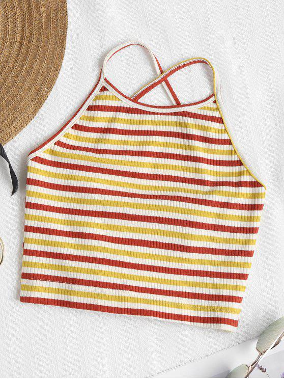 women Ribbed Striped Criss Cross Crop Top - MULTI L