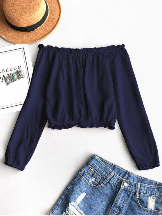 Babados fora do ombro blusa cortada - Azul Escuro Tamanho único