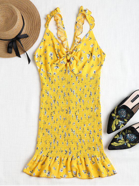 Mini vestido anudado con volantes y volantes - Amarillo S