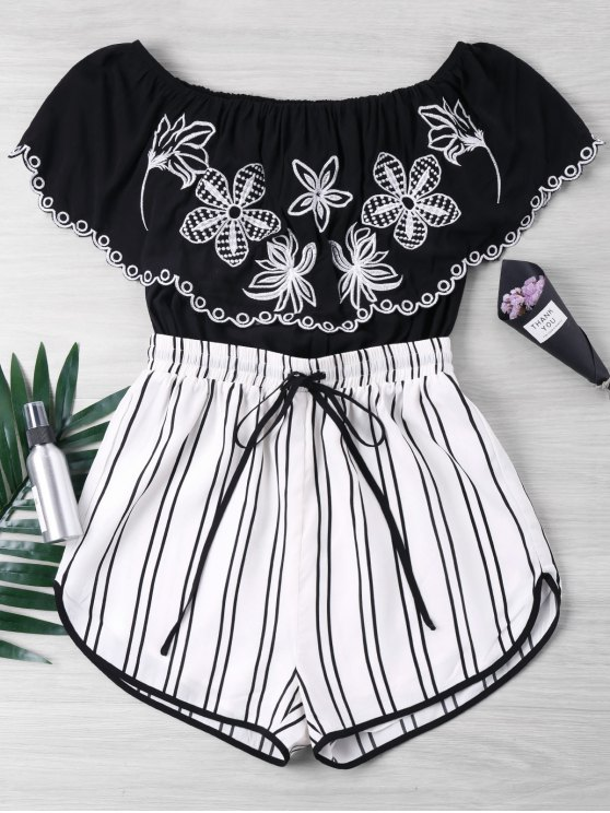 Embroidery Striped Off Shoulder Romper - Preto XL
