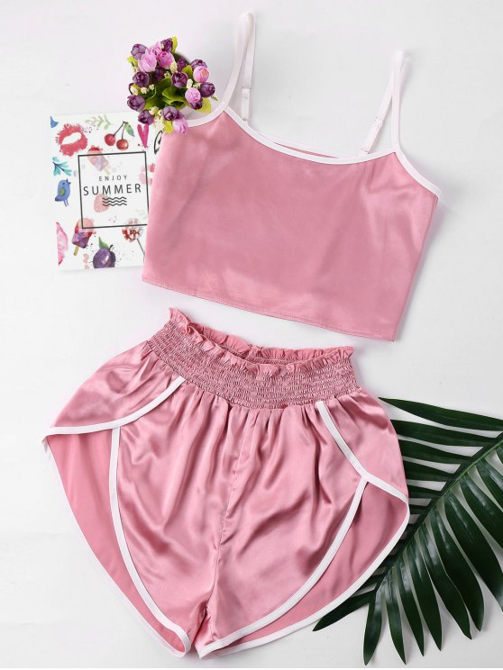 Kontrast Trim Cami Und Shorts Set - Rosa L