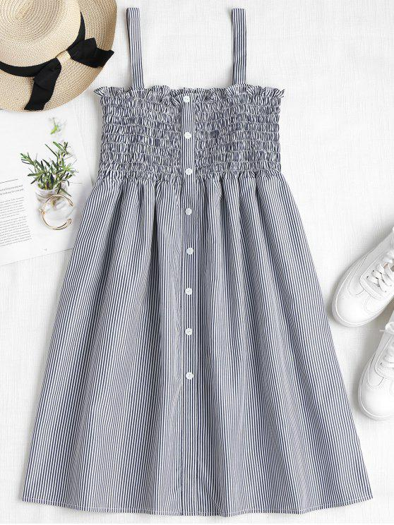 ladies Striped Smocked A Line Pinafore Dress - DARK SLATE BLUE S
