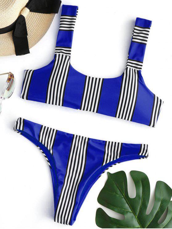 sale Striped Padded Bikini Set - COBALT BLUE L