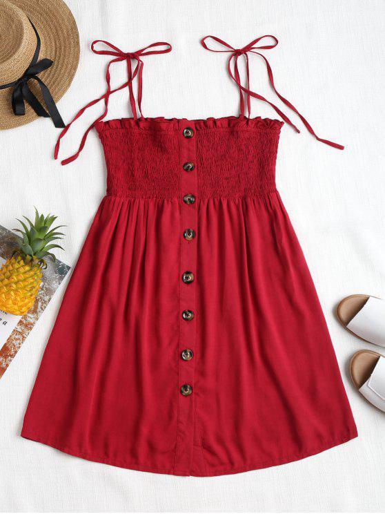 Botão de Smocked Up Mini Dress - Vermelho Cereja L