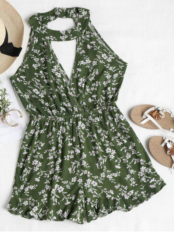 05dfca72565 25% OFF  2019 Cute Floral Cutout Choker Romper In JUNGLE GREEN
