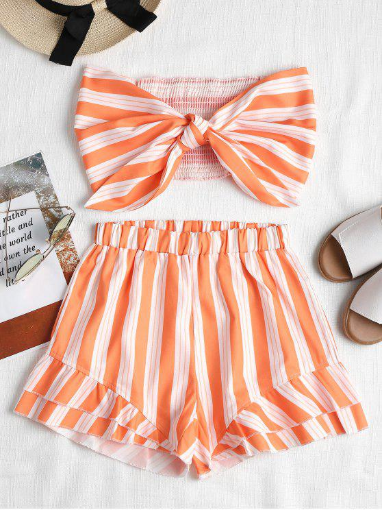 outfits Smocked Tie Front Tube Top and Shorts Set - DARK ORANGE S