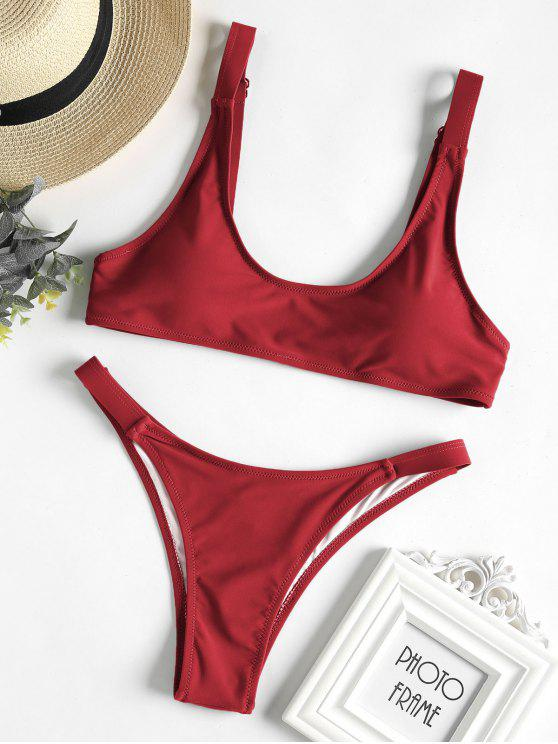 affordable Caged Bralette Bikini Set - CRANBERRY M