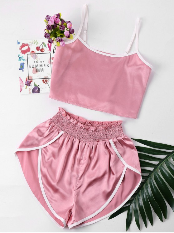 buy Contrast Trim Cami and Shorts Set - PINK S