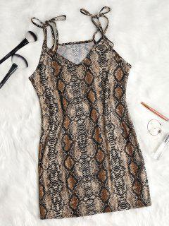 Tie Strap Snake Print Slip Dress - Coffee L