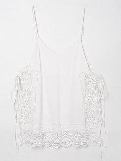 Tie Side Openwork Cami Top - White Xl