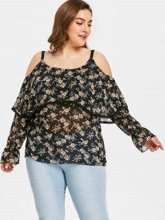 Plus Size Floral Cold Shoulder Blouse - Black 2xl
