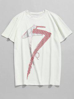Short Sleeve Printed Casual Tee - White 3xl