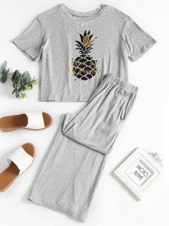 Pineapple Print Pajama Set - Gray Cloud M