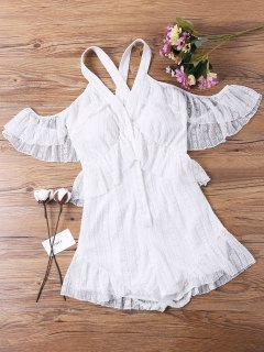 Cold Shoulder Lace Overlay Romper - White M