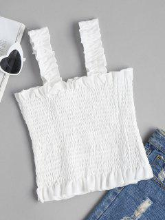 Square Neck Smocked Tank Top - White M