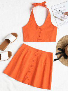 Buttoned Halter Skirt Set - Orange M