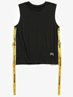 Round Neck Letter Ribbons Tank Top - Black S