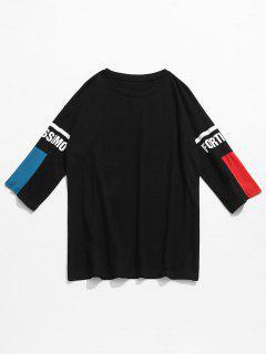Camiseta Con Estampado De Media Manga En Contraste - Negro 2xl
