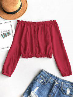 Ruffles Off Shoulder Cropped Blouse - Lava Red