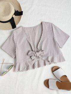Ruffles Tie Front Cropped Top - Light Gray M