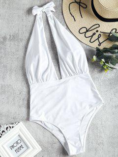 Low Cut High Waisted One Piece Swimsuit - White L