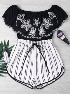 Embroidery Striped Off Shoulder Romper - Black M