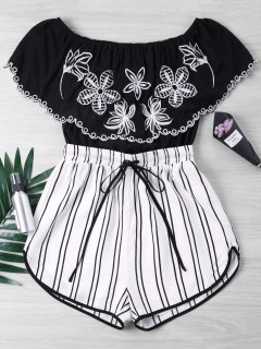 Embroidery Striped Off Shoulder Romper - Black Xl