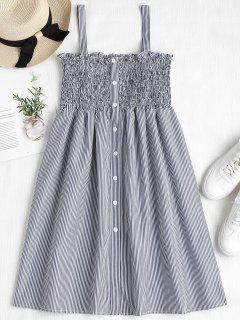 Striped Smocked A Line Pinafore Dress - Dark Slate Blue S
