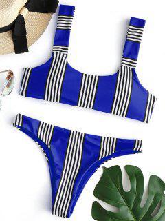 Striped Padded Bikini Set - Cobalt Blue L