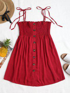 Smocked Button Up Mini Dress - Cherry Red S