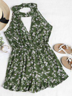 Cute Floral Cutout Choker Romper - Jungle Green L