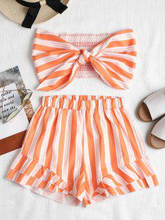 Smocked Tie Front Tube Top And Shorts Set - Dark Orange M