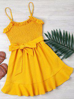 Ruffle Shirred Cami Dress - Bright Yellow M