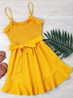 Ruffle Shirred Cami Dress - Bright Yellow L