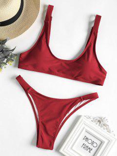 Caged Bralette Bikini Set - Cranberry M