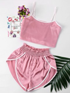 Contrast Trim Cami And Shorts Set - Pink L