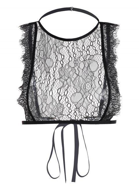 Bralette con cuello alto y encaje de pestañas - Negro L Mobile