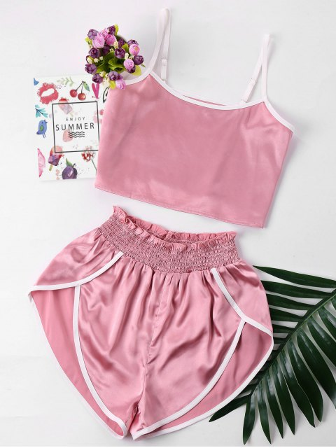 women's Contrast Trim Cami And Shorts Set - PINK L Mobile