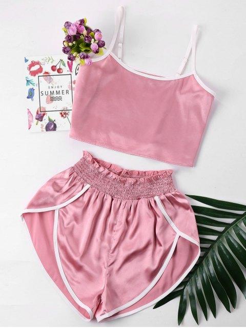 Ajuste de contraste Cami y pantalones cortos establecidos - Rosa L Mobile