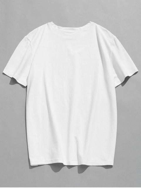 latest Short Sleeves Patterned T-shirt - WHITE M Mobile