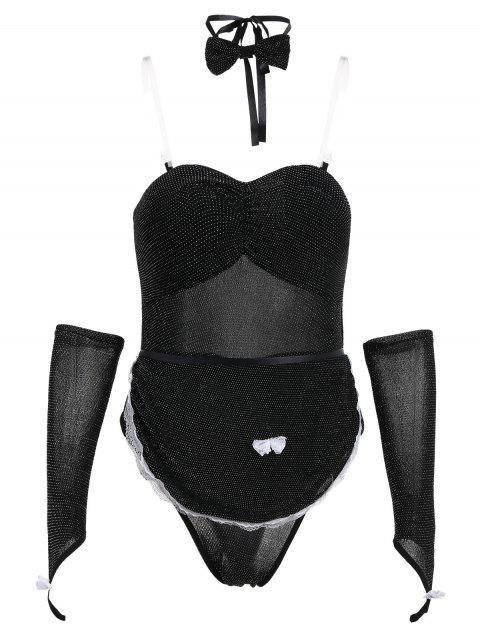 Traje de lencería de purpurina - Negro Talla única Mobile